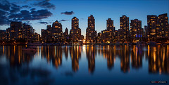 City Lights (Clayton Perry Photoworks) Tags: blue panorama canada skyline night vancouver clouds buildings reflections lights bc falsecreek hirises explorebc explorecanada