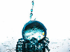 SPLASH (Laith Stevens Photography) Tags: abstract color art ice water ball reflections fun drops cool bright crystal awesome ngc clarity olympus ripples splash product 50200mm zuiko swd omd em1 f2832