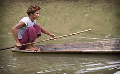 Paddling down river (bag_lady) Tags: river wooden burma transport canoe myanmar paddling burmese shanstate nyaungshwe