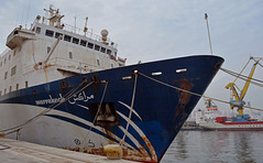 Marrakech docked in Casablanca 2 (PhillMono) Tags: old ferry boat nikon rust ship harbour vessel morocco bow marrakech casablanca dslr bollard d7100