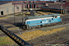 Big Sky Blue SD7 562 Coming Off The Bike Tracks at Superior, Wisconsin August 1970 (Twin Ports Rail History) Tags: twin ports rail history by jeff lemke time machine superior wisconsin gn great burlington northern emd sd7 big sky blue belknap street roundhouse 1970 diesel electric locomotive electromotive division