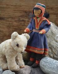 On a Norwegian beach... (shero6820) Tags: bear old vintage toys dolls antique felt norwegian polarbear lapland steiff sami rønnaugpetterssen