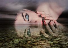 Reflections (clabudak) Tags: ocean portrait art water beauty photomanipulation eyes rocks doubleexposure surreal crazygeniuses