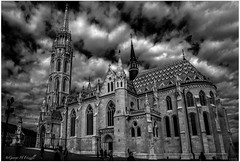 Buda Castle Church Budapest (toonarmy59) Tags: blackandwhite history church clouds hungary budapest worldtravel budapestcastle