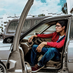 Atascado (Fcadena90) Tags: street boy portrait urban man cute car fashion mexico outfit nikon solitude surrealism young style lonely manstyle