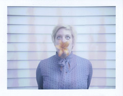 Day 045 (H o l l y.) Tags: fuji100c fuji film analog polaroid memory maker self portrait flower orange dress fashion blonde eyes house urban retro indie vintage