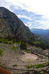 Arena at Delphi- Delphi, Greece (Flortography) Tags: travel trees sky sun mountains history grass landscape outdoors greek temple countryside ancient ruins europe foto delphi culture eu sunny structure unesco hills arena greece valley destination daytime fotografia overlook mythology