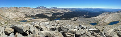 View of Isberg Lakes, McClure Lake, and Ward Lakes with Ritter Range in background, as seen from Isberg Pass (kennsrempel) Tags: anseladamswilderness wardlakes bannerpeak mcclurelakesmaderacountycalifornia isberglakesmaderacountycalifornia minaretsmaderacountycalifornia mountrittermaderacountycalifornia ritterrangemaderacountycalifornia