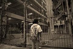 In the City (matt_axisa) Tags: city urban blackandwhite bw monochrome sepia standing canon person photography eos graffiti bars artistic sigma melbourne urbanart cbd canoneos f28 graffitiart srt urbanlife cadid melbournecbd melbournegraffiti melbournecity urbanpeople 1750mm melbourneart sigmaf28 canon600d eos600d canoneos600d melbournegraffitiart