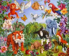 Knitted garden of Eden (vera cauwenberghs) Tags: animals garden stuffed eden knitted dieren paradijs gehaakt gebreid aards