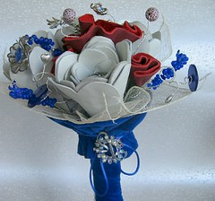Red, White and Leather Bouquet5 (TussyMussyBouquets) Tags: contemporary winterwhite cobalt weddingbouquet silverflowers broochbouquet artificialbouquet leatherbouquet
