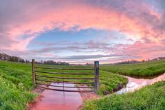 Evening Sky 1 (genf) Tags: pink green colors clouds fence evening groen pastel sony meadow wolken atmosphere fisheye fairy avond hdr weiland amstel hek roze kleuren ouderkerk 10mm a700 hdr3