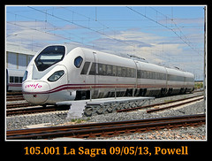 Sin tapar y con sol a favor (Powell 333) Tags: espaa speed train canon tren trenes eos high spain rail railway trains ave 7d powell alta velocidad railways highspeed sagra castilla mancha ferrocarril renfe prototipo espaola castillalamancha oaris adif ffcc lasagra castillamancha altavelocidadespaola 105001 eos7d canoneos7d