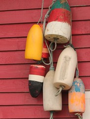 (Julia TortoiseHugger) Tags: wood red oregon colorful or rope plastic cannonbeach buoys buoy