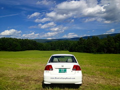 BLR-Mobile in Vermont (Blue Lollipop Road) Tags: road travel trees mountain field car honda pond vermont farm bluesky roadtrip licenseplate diane charming vt shaftsbury greenspace hondacivic greenmountain whitecar blr 2004hondacivic dianepeacock 2004civic bluelollipoproad blrmobile