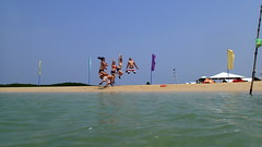 Jump! (jansmh) Tags: ocean camera people holiday beach water strand honda puerto island bay photo jump foto flag tripod philippines picture bild princesa vatten semester luli hav palawan ö kameran framför hoppa människor äventyr flaggor högt