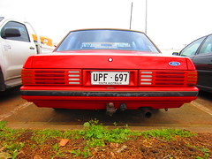 1983/85 Ford XE Falcon S (RS 1990) Tags: old red ford sport interior side rear wheels shoppingcentre august s front retro special pack falcon adelaide manual 1980s thursday southaustralia 8th transmission gearbox alloy xe 2013 cumberlandpark 198385 fuelflap