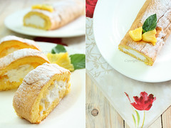 Swiss roll with coconut cream, pineapple and mango (D.M) Tags: food cake baking sweet coconut cream sugar desserts homemade pineapple mango roll mascaropne