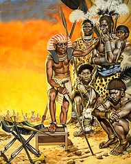 Pharaoh Kamose instructs specially-trained Negro warriors in battle tactics (anti-rawafidh) Tags: africa horse spears negro egypt pharaoh axe arrows syria warriors chariot sinai shields foldingstool hyksos
