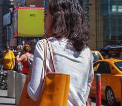 (EYECCD) Tags: street nyc portrait woman newyork sign yellow shirt delete10 delete9 delete5 delete2 delete6 delete7 no candid taxi bad delete8 delete3 delete delete4 550d