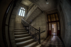 Mansion B. (WolfiNim) Tags: old urban abandoned stairs dark lost nikon place decay exploring places fisheye forgotten urbanexploration unknown mansion forsaken exploration 8mm hdr ue d90 lostplace tonemapped tonemapping wolfinim