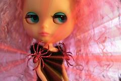 SPIDERS FROM MARS ... (Heidi @ Blythe Fifth Avenue) Tags: happyhalloween davidbowie ziggystardust spidersfrommars musiccommittee mrsretromama pinkmohairscalp halloween2013 yardleyyoplait bfahalloweenparty pinkglitterspiders