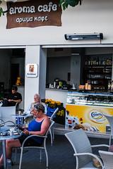 Cafe - Rhodes Town Greece (Fuji XM-1 16-50mm Zoom) (markdbaynham) Tags: island greek town cafe fuji hellas x greece grecia trans rodos rhodes fujinon csc dodecanese hellenic xm1 mirrorless digitaldepotcouk