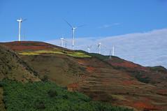 Wind mills (Mel@photo break) Tags: china morning blue light red sky cloud sun mist weather fog sunrise energy power wind earth terraces mel electricity melinda yunnan mills renewable dongchuan    chanmelmel  melindachan