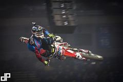 Samson Eaton at the 2014 Garmin ArenacrossUK Tour with E22 Sports at Liverpool's Echo Arena. Bolddog FMX Team Honda Motorcycles UK FTR Suspension Garmin UK UKFMX — with Samson Eaton at Echo Arena.