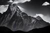 Machhapuchhre up close. (tbrittaine) Tags: nepal blackandwhite white mountain black monochrome south himalaya annapurna himalayas poonhill machhapuchhre