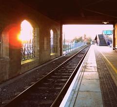 Woodhouse Train Station (ryanthelion63) Tags: morning light sunlight public station train sunrise lumix transport tracks sunny panasonic lensflare rails commuting woodhouse nottinghamshire mansfield robinhoodline
