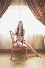 Yvonne2 (Alphone Tea) Tags: light woman sexy colors girl beautiful lady print hotel student bed eyes asia pretty slim bokeh body room great young longhair indoor 24mm 6d 2014 2414 ef24mmf14liiusm