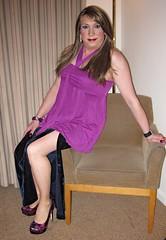 Blue Velvet 2 (Sarah★Jane) Tags: female feminine longhair makeup skirt nails heels earrings eyeshadow paintednails stillettos ukangels longblondehair feminising