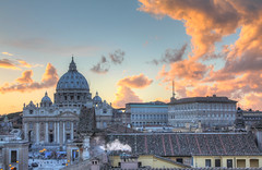 The Vatican at Sunset (Ronnie R) Tags: sunset italy vatican rome church clouds canon eos evening catholic basilica hdr 3xp photomatix t2i