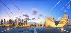 Distancing Away (Mabmy) Tags: city bridge blue sky panorama art museum clouds buildings lumix lights singapore lotus cityhall olympus casino hour esplanade cbd bluehour starburst mbs em1 7mm