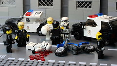 BREAKING: Stormtrooper helmets made of toy plastic, The Empire saved Billions! (Brick Police) Tags: crash stormtroopers police motorcycle minifig lapd