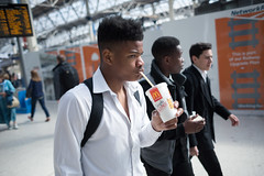 (ziemowit.maj) Tags: friends streetphotography commute unbuttoned waterloostation whiteshirt centrallondon candidphotography schoolboys ef28mmf18 canon5dmkiii blackschoolboydrinkingfromamcdonaldscup