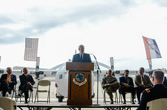 Missouri governor speaks at press conference (139AW) Tags: unitedstates mo saintjoseph levee govenor jaynixon
