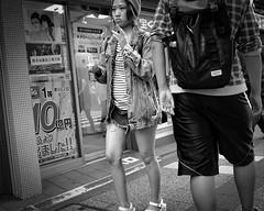 Denim girl (Bill Morgan) Tags: street bw tokyo fuji fujifilm kichijoji lightroomcc x100t