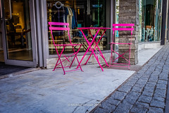Table for Two on Laugavegur (mikesa10) Tags: pink table is iceland chairs reykjavik cobblestones storefronts cobbles reykjavk tablefortwo capitalregion canon6d iceland2016