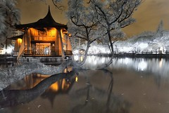 台中公園~湖心亭紅外線夜景~  Taichung park IR Night scene (Shang-fu Dai) Tags: 台灣 taiwan 台中 台中公園 湖心亭 nikon d200 clouds 倒影 landscape reflection 夜景 afs1224mmf4 戶外 紅外線 ir 720um nightscene formosa
