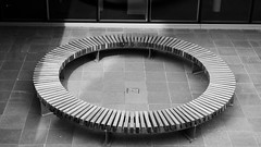 meeting place of the knights of the Round Bench (byronv2) Tags: blackandwhite bw monochrome bench circle blackwhite edinburgh university seat georgesquare round edinburghuniversity circular edimbourg
