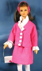 Francie Pink Dotted Suit (Debras Closet) Tags: pink white mod francie dollclothes