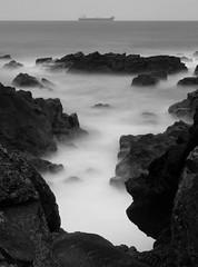 Greyhope Bay, Aberdeen (PeskyMesky) Tags: longexposure sea mist rock canon scotland pov pointofview aberdeen le northsea northeastscotland canoneos500d greyhopebay