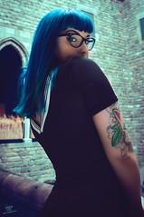 Saya (rubenfcid) Tags: barcelona street woman girl fashion lady gothic bcn saya bluehair gotic barriogtico gtico goticstreet