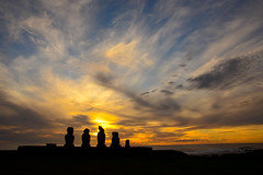 Sunset on the Moai (Ahu Tahai) (jackkostelec) Tags: chile moai easterisland rapanui ahutahai