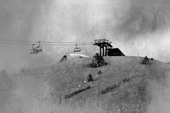Chair lifts - 12-2593 (Barrawel) Tags: old light blackandwhite white mountain snow ski cold monochrome station vintage landscape grunge style peak dirty rough dust grungy snowscape