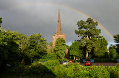 Under the Rainbow (tdcphotos) Tags: trees sky church architecture clouds evening rainbow