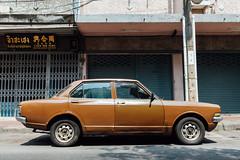 Classic car (Evgeny Ermakov) Tags: auto street old city brown classic car wheel sedan vintage asian thailand japanese automobile asia southeastasia bangkok transport retro chrome toyota trunk vehicle southeast scratch editorialuse