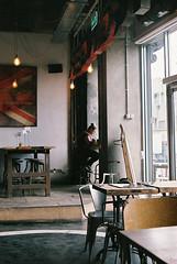 English diaries (michaela.nagyidaiova) Tags: wood light shadow london film coffee caf girl design day interior coffeeshop indoors whitechapel
